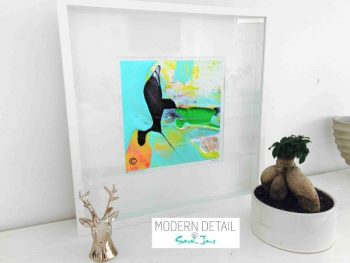 Sarah Jane Modern Art Print called Unconditional Love LIV in a small white shadowbox frame - Modern Detail By Sarah Jane