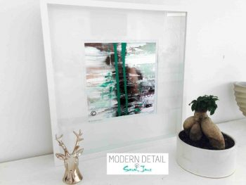 Sarah Jane Modern Art Print called United we Stand VII in a small white shadowbox frame - Modern Detail By Sarah Jane