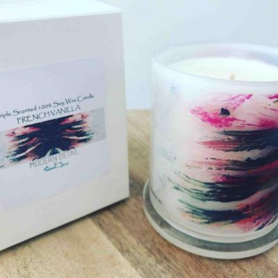 Sarah Jane Natural Soy Candle with abstract artwork - Freedom VIc
