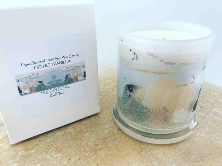 Sarah Jane Natural Soy Candle with beach themed artwork - Beautiful Soul XI