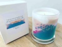 Sarah Jane Natural Soy Candle with colourful artwork - Being Watched VIIIa