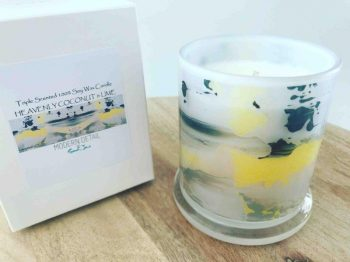 Sarah Jane Natural Soy Candle with cow hide pattern with lemon - On the Move LII