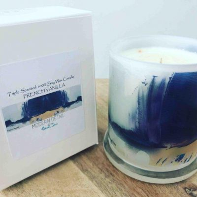 Sarah Jane Natural Soy Candle with modern neutral artwork - Colour me Happy XIIIe