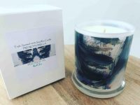 Sarah Jane Natural Soy Candle with neutral modern artwork - Freedom IXb