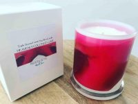 Sarah Jane Natural Soy Candle with red and pink artwork - Being Watched VI