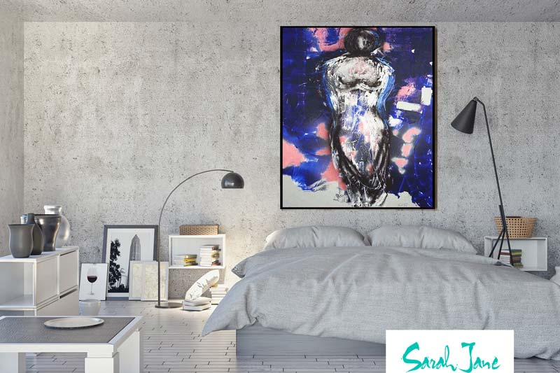 Sarah Jane Painting Titled Anonymous on the wall of a modern home bedroom