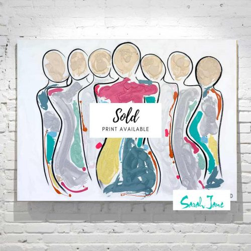 Sarah-Jane-Paintings-sold---bodyline-bold-ii-painting-energetic-figurative-abstract-people-with-central-woman---bright colours