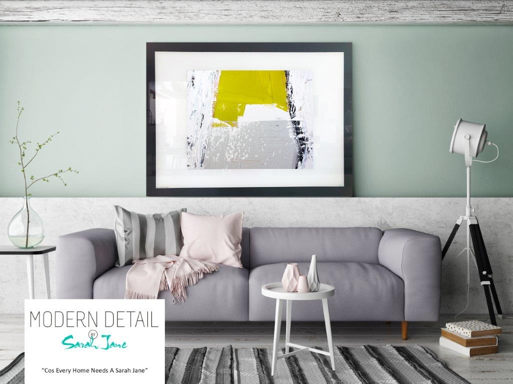 Sarah Jane Wall Art Print on Glass with Yellow and Grey Colour Tones - Cozzie Va
