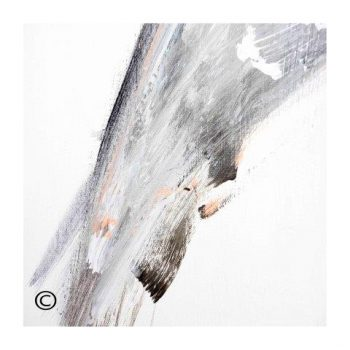 Sarah Jane abstract art print in black and whites with a hint of peach and surrounded by a small white border and called Peach II - Modern Detail By Sarah Jane