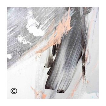 Sarah Jane abstract art print in black and whites with a hint of peach and surrounded by a small white border and called Peach III - Modern Detail By Sarah Jane