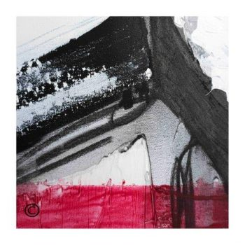 Sarah Jane abstract art print in red black and white surrounded by a small white border and called Regal X - Modern Detail By Sarah Jane