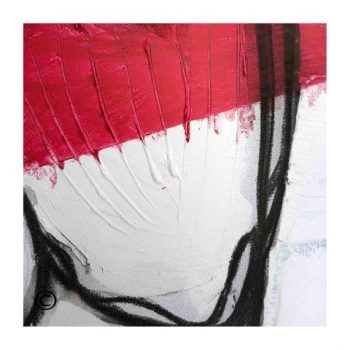 Sarah Jane abstract art print in red white and black surrounded by a small white border and called Regal II - Modern Detail By Sarah Jane