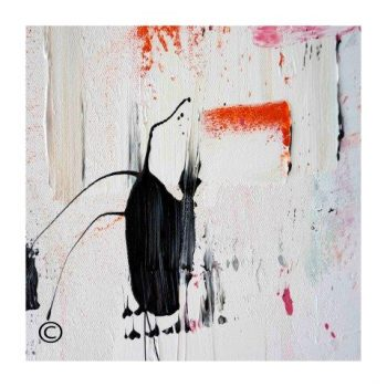 Sarah Jane abstract art print of a black cat surrounded by a small white border and called On the Move XXIX - Modern Detail By Sarah Jane