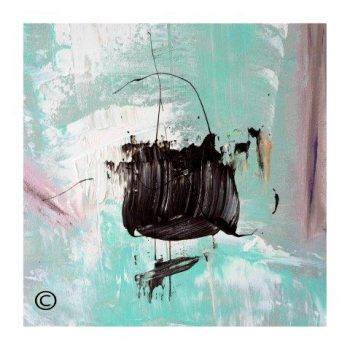 Sarah Jane abstract art print of a boat in the ocean surrounded by a small white border and called On the Move VIc - Modern Detail By Sarah Jane