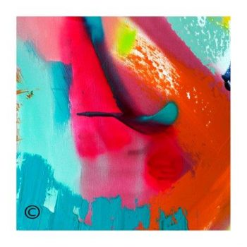 Sarah Jane colourful modern abstract art print surrounded by a small white border and called Colour me Happy V