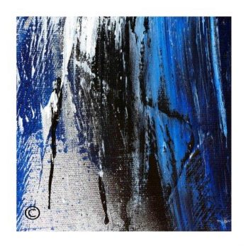 Sarah Jane modern abstract art print in blue and black surrounded by a small white border and called Anonymous XIV - Modern Detail By Sarah Jane