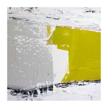 Sarah Jane modern abstract art print in yellow and grey surrounded by a small white border and called Cozzie Va - Modern Detail By Sarah Jane