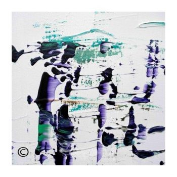 Sarah Jane modern art print abstract fish purple and green surrounded by a small white border and called Relax XVI - Modern Detail By Sarah Jane