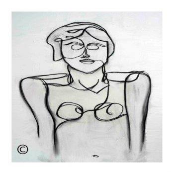 Sarah Jane modern art print in black and white of an abstract woman surrounded by a small white border and called Linear II - Modern Detail By Sarah Jane