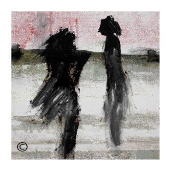 Sarah Jane modern art print of a couple in the sunset surrounded by a small white border and called Boardwalk Ve - Modern Detail By Sarah Jane