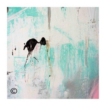 Sarah Jane modern art print of a waterbird surrounded by a small white border and called On the Move X - Modern Detail By Sarah Jane