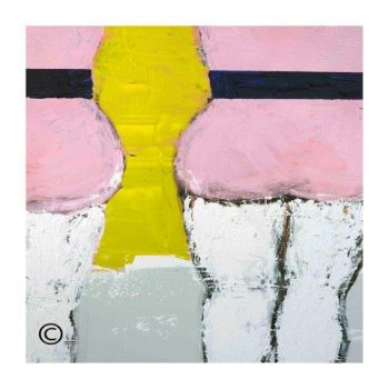 Sarah Jane modern art print of a woman in pink bathers surrounded by a small white border and called Cozzie IId - Modern Detail By Sarah Jane