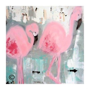 Sarah Jane modern art print of flamingoes surrounded by a small white border and called On the Move II - Modern Detail By Sarah Jane