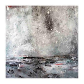 Sarah Jane modern art print of the ocean surrounded by a small white border and called Storm I - Modern Detail By Sarah Jane