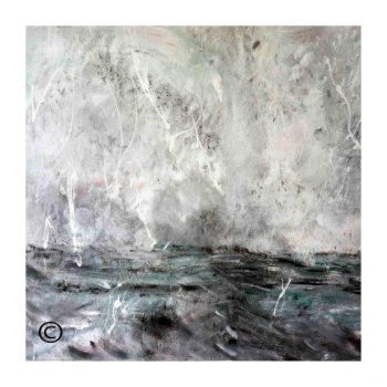 Sarah Jane modern art print of the ocean surrounded by a small white border and called Storm III - Modern Detail By Sarah Jane