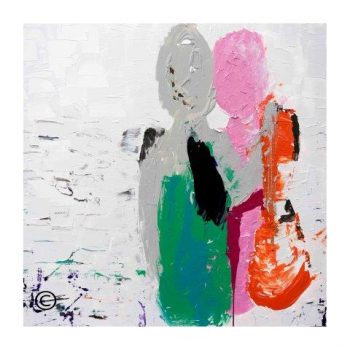 Sarah Jane modern colourful art print of a couple at the beach surrounded by a small white border and called Relax I - Modern Detail By Sarah Jane