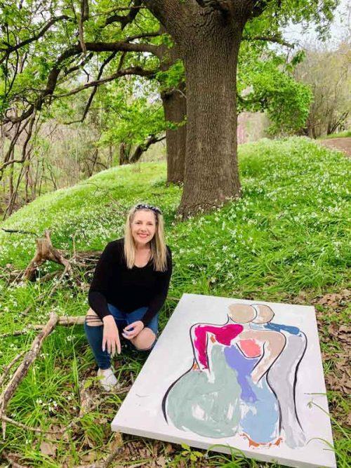 Sarah-Jane-outdoors-painting-Collectors-Series-Bodyline-Bold-IV---Modern-Figurative-Art