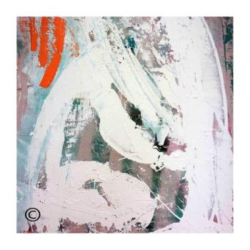 Sarah Jane trendy art print with warm and cool colours surrounded by a small white border and called Reaching Out XXVa - Modern Detail By Sarah Jane