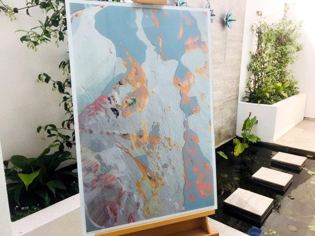 Soft coloured abstract print on glass - Reaching Out LIIf By Artist Sarah Jane