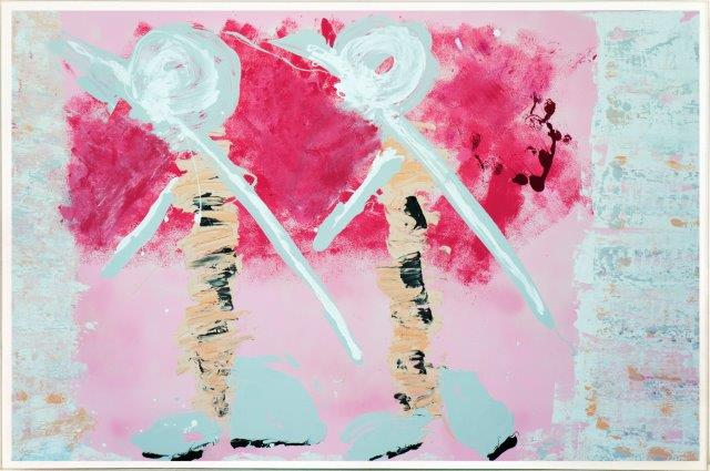 Soft pink Print on Glass with Contemporary Art of people By Australian Artist Sarah Jane with Thin White Border - Wanderers I