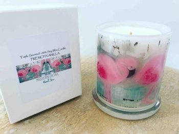 Soy Candle with Flamingo Artwork By Artist Sarah Jane - On the Move II
