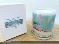 Soy Candle with orange and blue grey artwork By Artist Sarah Jane - Freedom XIVa