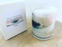 Soy Candle with soft pink and beige artwork By Artist Sarah Jane - Beautiful Soul VII