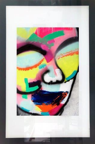 Stylish Print on Glass By Adelaide Artist Sarah Jane of a colourful face with White and Black Border - Hidden Truth I