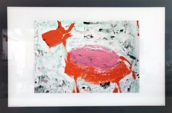 Stylish Print on Glass of a colourful goat By Sarah Jane with White and Black Border - Goatey I