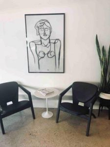 Trendy Glass Art Print By Artist Sarah Jane hangs in a prominent Adelaide Business on King William Road