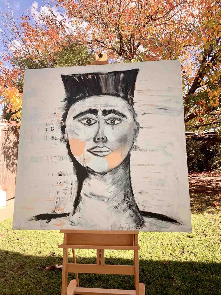 Tribal Painting TItled Warrior - Modern Painting - Australian Artist Sarah Jane