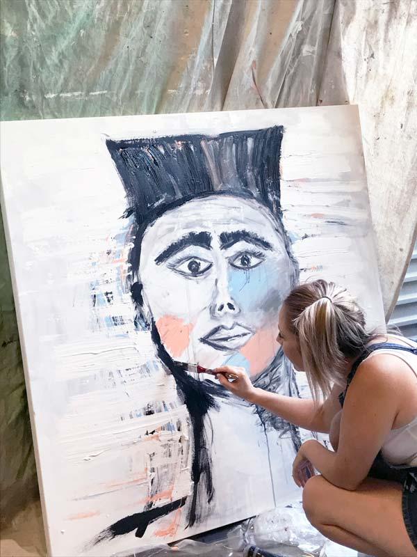 warrior painting in progress - sarah jane art south australia
