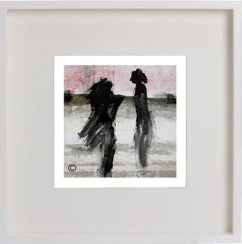 White Framed Print with Abstract Art By Artist Sarah Jane - Boardwalk Ve
