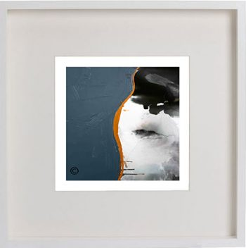White Framed Print with Abstract art in mixed colours By Artist Sarah Jane - Wind of Change IV