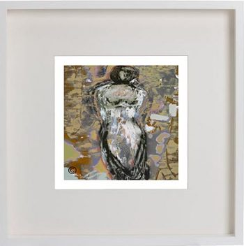 White Framed Print with Modern Art By Artist Sarah Jane - Anonymous XXId