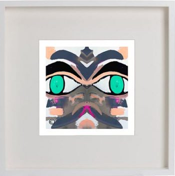 White Framed Print with Modern Art By Artist Sarah Jane - Being Watched Ifff