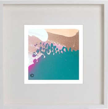 White Framed Print with Modern Art By Artist Sarah Jane - Being Watched VIIIa
