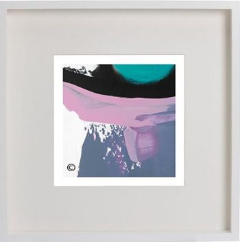 White Framed Print with Modern Art By Artist Sarah Jane - Being Watched XVIf
