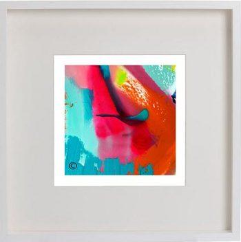 White Framed Print with Modern Art By Artist Sarah Jane - Colour me Happy V