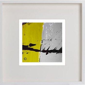 White Framed Print with Modern Art By Artist Sarah Jane - Cozzie VIIb